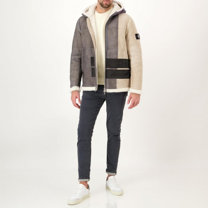 Lederjacke 'Hand Sprayed over printed Sheepskin'